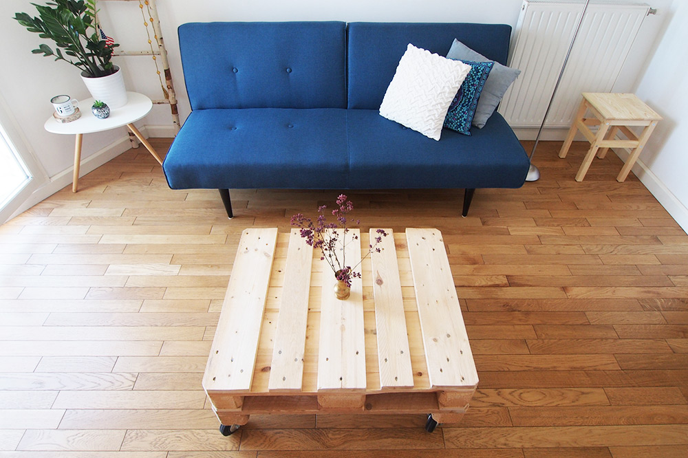diy ma table basse recycl e partir d 39 une palette en bois chocodisco. Black Bedroom Furniture Sets. Home Design Ideas
